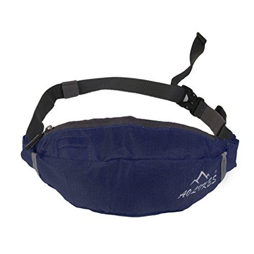 Oxford Hüfttaschen Stoff Fitness Taille Tasche Reißverschluss Beutel Gürtel Brieftasche Sport Reise (Marineblau)
