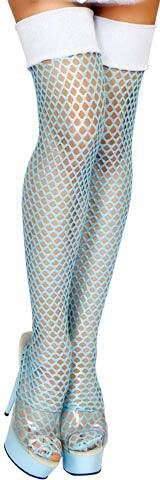 Women Ice Princess Queen Fishnet Thigh High Stockings Halloween Outfit Accessory