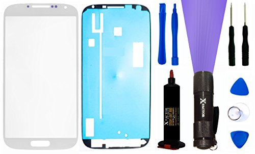 Xfactor Samsung Galaxy S4 Screen Replacement Kit Inlcuding 1 Replacement Glass For Samsung Galaxy S4 (Glass Only - Digitizer Not Included) / Tool Kit / Xfactor Uv Loca (Liquid Optical Clear Adhesive) + Uv Black Light - Complete Combo!! ((White)