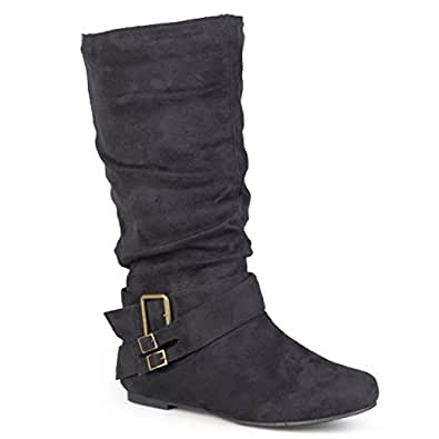 Journee Collection Womens Regular Sized and Wide-Calf Buckle Slouch Mid-Calf Boot Black 6.5
