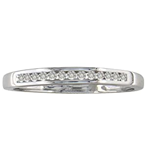 10K White Gold Channel Set Diamond Band 1/8ct tw. Available Ring Sizes 3-9.5, Ring Size 6.5