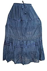 Indiatrendzs Skirts for Women's Cotton Blue Long Plain/Solid Lace Skirt