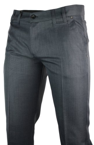 Mens Slim Fit Trousers Navy Blue Italian Design Smart