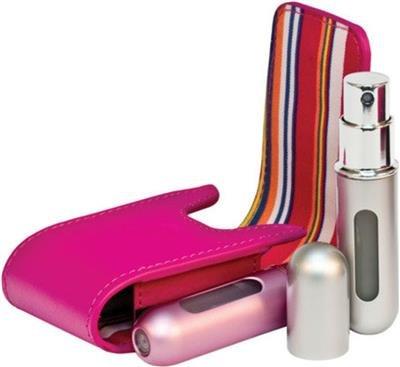 Confezione doppia, 2 x TRAVALO-Refill Spray da viaggio per profumi Nebulizzatore AIRSAFE regalo, 100% originale, colore: rosa oro rosa TRAVALO argento, colore: nero