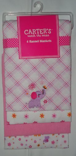 Carter'S Set Of 4 Flannel Blankets - Pink Elephant 100% Cotton front-157064