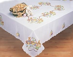 "Easter Bunny Egg White 68x104"" Rectangular Spring Fabric Tablecloth Creative Linens"