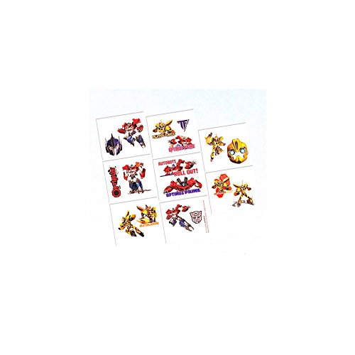 Amscan Mighty Transformers Birthday Tattoo (16 Piece), Multi, 2 x 1 3/4""