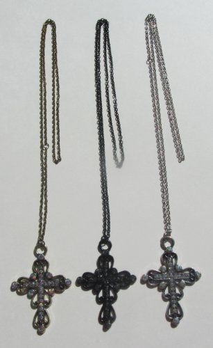 Cross Necklace - Set of 3 Unique. Includes Religious Stickers.