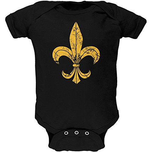 Distressed Fleur-De-Lis Black Soft Infant Bodysuit - 9-12 Months