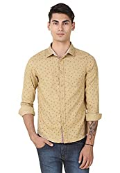 4Stripes Men's Casual Print Shirt (4SSH016_L_BEIGE)