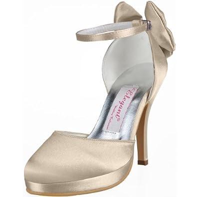 Elegantpark AJ091-PF Champagne Women Closed Toe Ankle Strap Bow Platform Satin Women's Wedding Shoes UK 6