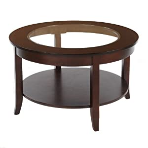 Bay Shore Collection Round Glass Top Coffee Table Espresso 30 Inch Kitchen Dining