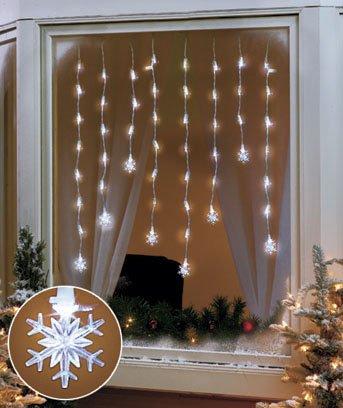 "Led Window Icicle Lights 56"" (Snowflake)"