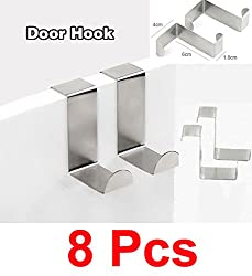 8 Pcs Stainless Steel Door Hook for Bathroom Home Office hanger cloth bags