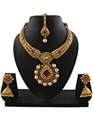 Anuradha Art Exclusively Design Antique Golden Tone Traditional Necklace Set For Women/Girl