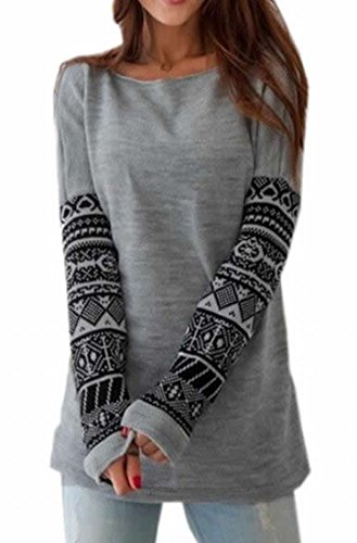 ARRIVE GUIDE Womens Slim Sexy Crewneck Long Sleeve Print Pullover Sweater Gray Large (Young Womens Clothing compare prices)