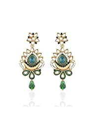 I Jewels Tradtional Gold Plated Kundan & Stone Earrings For Women(Green)(E2127G)