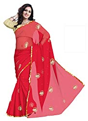 GiftPiper Pure Chiffon Aari Work Saree- Red