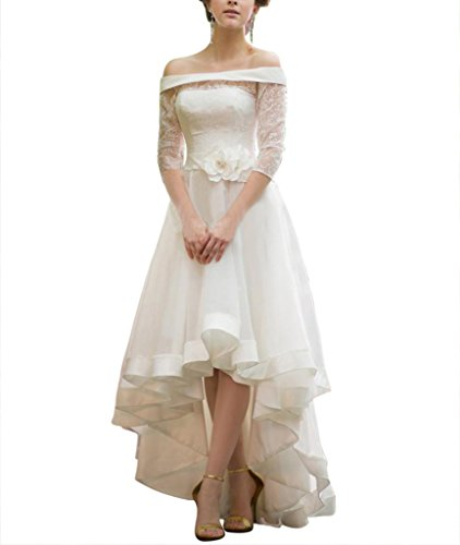 95b933cb271b0 Bettertime Women's 3/4 Sleeves Hi-Lo Lace Wedding Dress Bridal Gowns