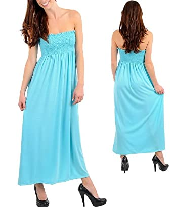 SOLID SMOCKED MAXI DRESS