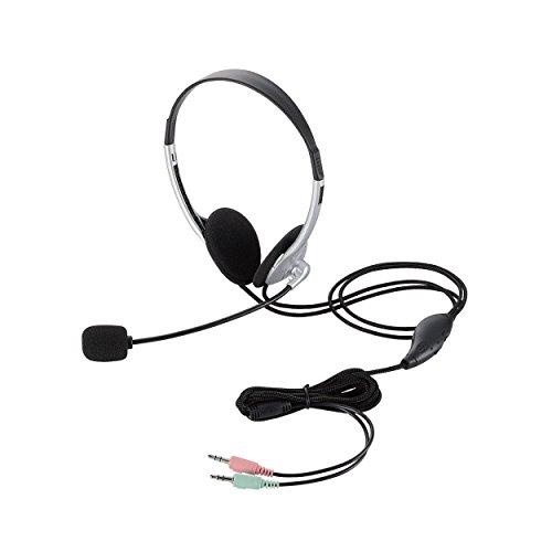 ELECOM ヘッドセットマイクロフォン 両耳オーバーヘッド 1.8m HS-HP22SV