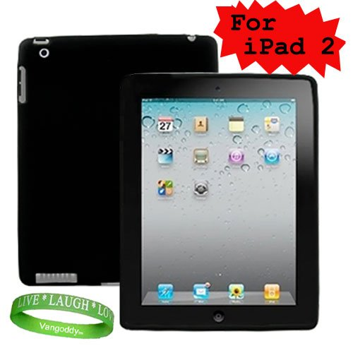 Apple Ipad 2 Tablet Silicone Skin for ipad 2 ( ipad 2 Tablet 3G , ipad 2 Tablet wifi , ipad 2 Tablet wifi + 3G, 16gb, 32 gb , 64gb ) ** Black ** + Vangoddy Live * Laugh * Love Wrist band!!!