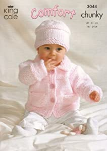 Chunky Knit Baby Cardigan Pattern Free : King Cole Baby Jacket, Sweater, Cardigan & Hat Comfort Chunky Knitting Pa...