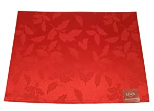 Lenox Holly Damask Placemat, Red