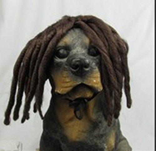 Pet Parrucca di Natale di Halloween parrucca cucciolo divertente lunghe trecce Gatto Cane Party (Brown)