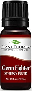 Plant Therapy Germ Fighter Synergy Essential Oil Blend. 100% Pure, Undiluted, Therapeutic Grade. Blend of: Lemon, Clove Bud, Cinnamon Cassia, Eucalyptus, and Rosemary. 10 ml (1/3 oz).