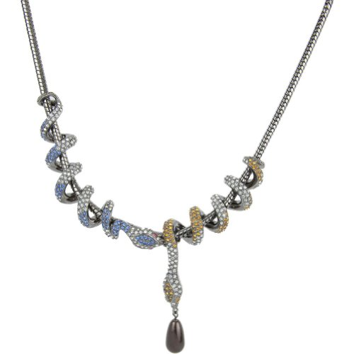 Michelle Monroe Two Snake necklace (Gun Metal)