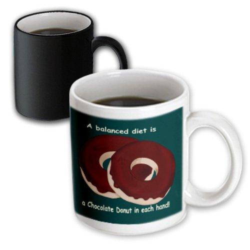 Mug_27413_3 777Images Designs Cartoons - A Balanced Meal A Chocolate Donut In Each Hand - Mugs - 11Oz Magic Transforming Mug
