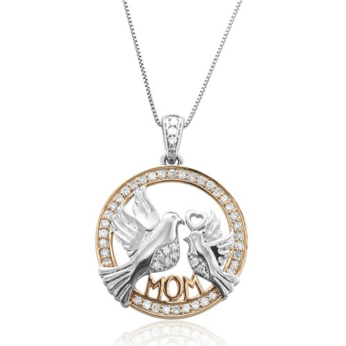 10k White Gold Mother and Baby Bird Heart Diamond Pendant Necklace (HI, SI3-I1, 0.25 carat)