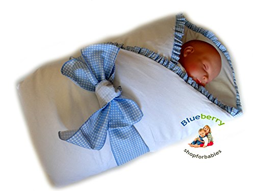 Blueberry Shop Luxury Warm Newborn Swaddle Wrap Blanket Duvet Sleeping Bag Satin Cotton Blue Check - 1