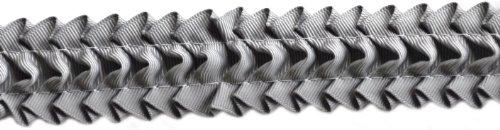 Pleated Trim Ruffeled Pleated Grosgrain Ribbon Roll, Grey, 25-Yard