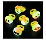24 LED LIGHT UP FLASHING EMOJI RINGS EMOTICON JELLY RING PARTY FAVORS CARNIVAL