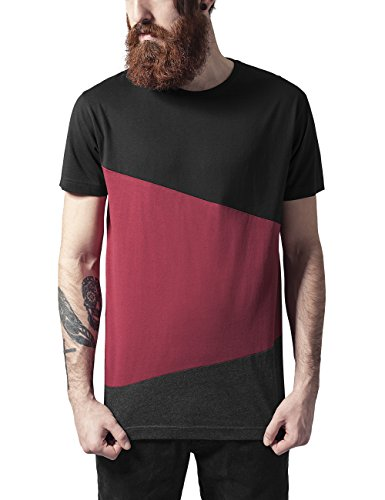 Urban Classics Long Shaped Zig Zag Tee, T-Shirt Uomo, Mehrfarbig (Blk/Burgundy/Cha 734), M