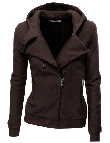 Doublju Women Stretchy Zip-up Long Sleeve Big Size Hoodies BROWN,XL (Canada Zip Up Hoodie compare prices)