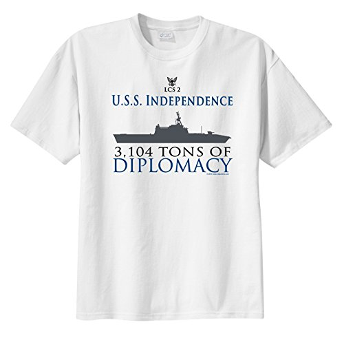 ShipShirtsTM Men's LCS 2 USS Independence 3,104 tons of Diplomacy Short Sleeve T-Shirt White L (Uss Independence Lcs 2 compare prices)