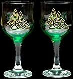 Pair of Wine Glasses in a Green Celtic Eternity Knot Design. Handpainted and designed in the UK by Beverley Gallagher, these significant and expressive gifts are ideal for Christmas, Valentine's Day, Mother's Day, St Patrick's Day, Easter, Father's Day,