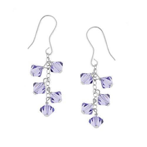 Sterling Silver Drop Earrings with Dark Blue Swarovski Elements