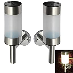 Saver 2pcs Stainless Steel Garden Solar White LED Lamps Wall-mounted Courtyard Decor Wall Light