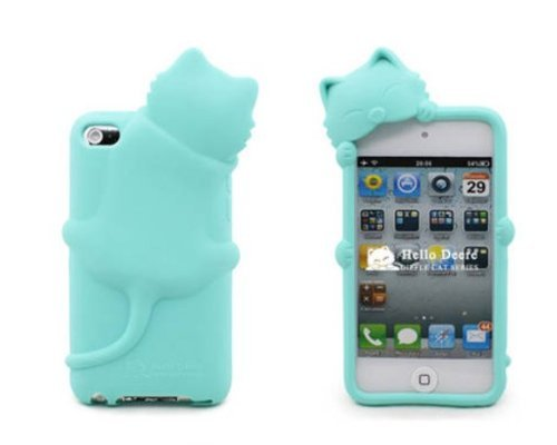 [Icase-Mall] Baby Blue Lovely Kiki Cat Silicone Case Skin Cover For Apple Ipod Touch Itouch 4Th Generation 4G 4 With Earphone Anti Dust - Retail Packing Xmas Gift