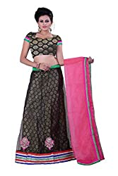 Sonika Black & Pink Net 3 Piece Lehenga Choli