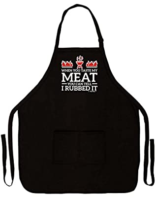 When You Taste My Meat You Can Tell I Rubbed It Funny Apron for Kitchen BBQ Barbecue Cooking Grilling Tailgate Bacon Two Pocket Apron for Tailgating BBQ Grill Pit Master