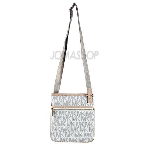 Michael Kors Jet Set Monogram Crossbody Women'S Leather Handbag Purse White