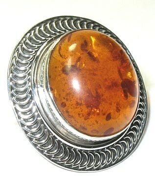 Baltic Amber Sterling Silver Ring - Size 6.5