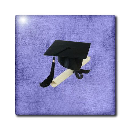 ct_172583_3 Beverly Turner Graduation Design - Black Graduation Cap with Diploma on Purple Design - Tiles - 8 Inch Ceramic Tile discount price 2016