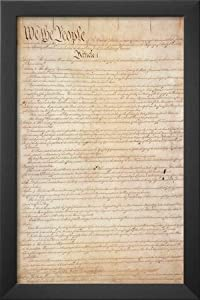 Professionally Framed U.S. Constitution (First Page) Art Poster Print - 11x17 with Solid Black Wood Frame