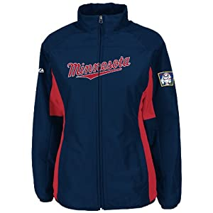 Minnesota Twins Navy Ladies Authentic Double Climate On-Field Jacket by Majestic by Majestic